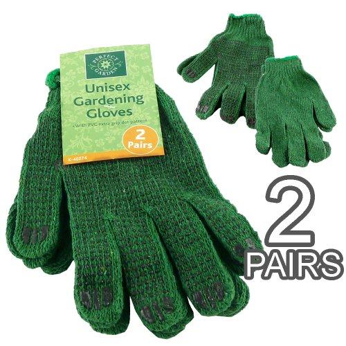 Unisex, 2 Paar Gartenhandschuhe, Extra Dot Grip Muster-Leicht Und Maschinenwaschbar (Herren-pvc-dot)