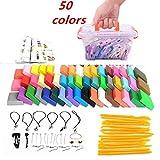 Pâte Polymère,Mytobang 50 couleurs bricolage argile colorée sûr et non toxique Couleurs Mixtes Pâte à modeler ensemble, DIY Clay Kit avec outils de modélisation,meilleur cadeau pour les enfants