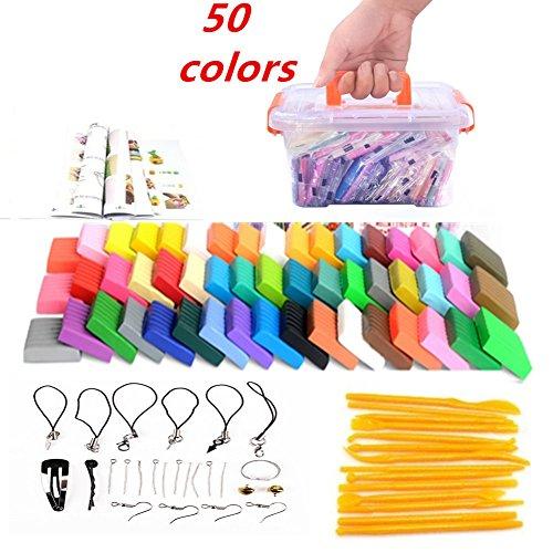 Polymer Ton 50 Farben Clay Mytobang Kinderknete Ofen backen DIY bunten Lehm Safe und ungiftig weichen Molding Handwerk Set,Skulptur Werkzeug-Set Modellierung Molding Bestes Geschenk für Kinder - Farbe Polymer Clay