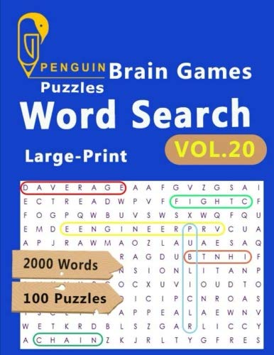 Brain Games Puzzles Word Search Large-Print: VoL.20 The World's Largest Word Search Puzzle Book boosting entertainment for adults and kids