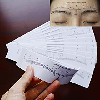 Airgoesin 100pcs Disposable Adhesive Eyebrow Ruler Sticker Microblading Guide For Beauty Tattoo Shaping Makeup Tool Tape
