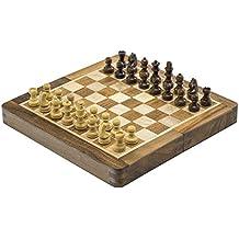 Chess Bazar - Set di scacchi da tasca da viaggio magnetico - Staunton 7 X 7 pollici da tavolo pieghevole a mano in finissima palissandro