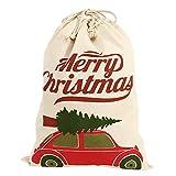 Enjoygoeu Weihnachtsmann Sack Nikolaussack Personalisieren für Kinder Weihnachten Sack Leinwand Jute Tasche Extra Groß Besonderer Geschenkbeutel mit Kordelzug (Typ03)