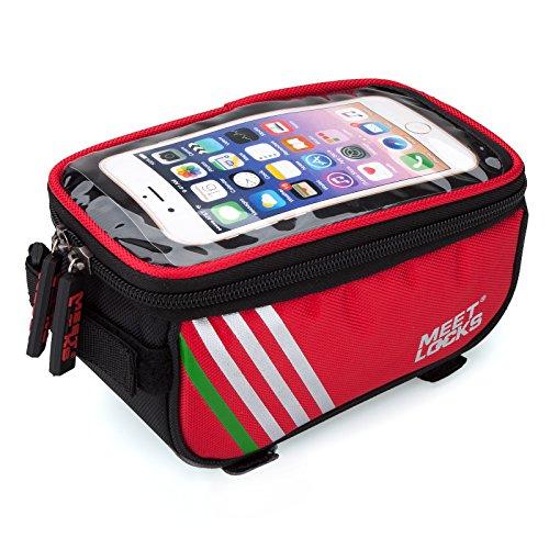 """Fahrradtsche, Rahmentasche, Fahrrad Rahmentasche, Farhradlenkertasche, geeignet für Handy mit Größe unten 5,7"""" Rot"""