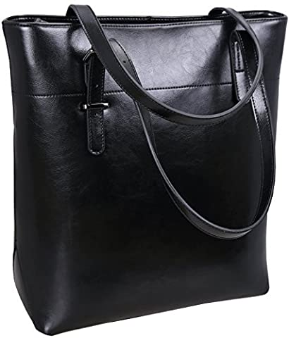 Iswee Leather Shoulder Bags Trendy Handbags Tote Celebrity Messenger Bag for Women (Black)