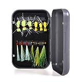 Lixada 12 stücke Fliegenfischen Köder Fliegen Forelle Lockt Künstliche Angelköder Köder mit Wasserdichte Box