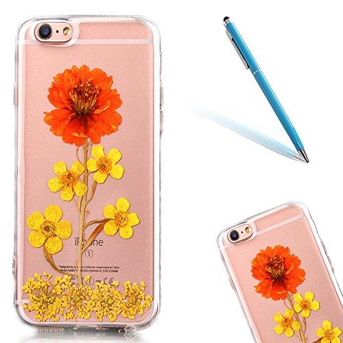 """iPhone 6sPlus Schutzhülle, iPhone 6Plus Soft TPU Handytasche, CLTPY Modisch Durchsichtige Rückschale im Getrocknete Blumenart, [Stoßdämpfung] & [Kratzfeste] Full Body Case für 5.5"""" Apple iPhone 6Plus/ Flower 10"""