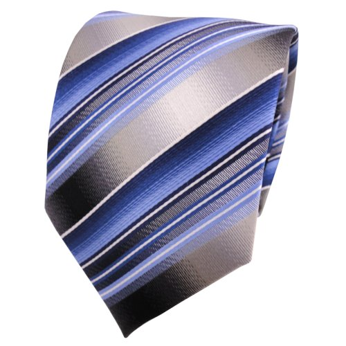 TigerTie Seidenkrawatte blau hellblau grau silber gestreift - Krawatte Seide (Blau Grau Seidenkrawatten)