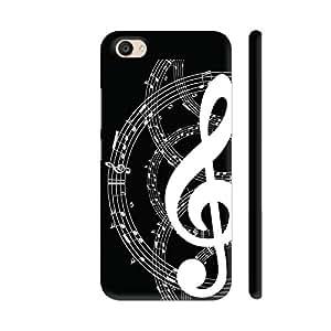 Colorpur Musical Notes On Black Printed Back Case Cover for Vivo V5 Plus