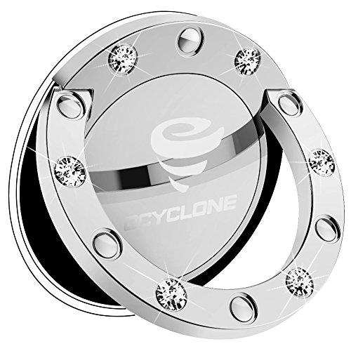 OCYCLONE Handy Fingerhalterung für Frauen, Slim Weiß Glitzer Diamant 360° Hülle Ring für iPhone XS Max Xr X 8 7 Plus 6 S 6, Samsung Galaxy Note 8 S8, Huawei p7 p8 p10 lite p20 - Silber