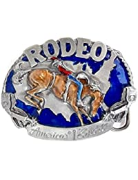 Boucle ceinture Western Rodeo Bull Rider relief en Etain sur email bleu - Made in USA # I-27