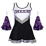 TAIYCYXGAN Damen Mädchen Cheerleader Kostüm Uniform Karneval Fasching Party Halloween Kostüm Kleid Cheerleading Bekleidung mit 2 Pompoms Schwarz M