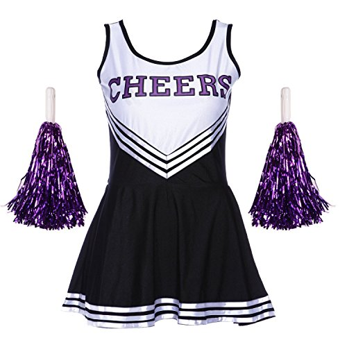 Damen Mädchen Cheerleader Cheerleading Kostüm Uniform Karneval Fasching Party Halloween Kostüm Kleid Minirock mit 2 Pompoms Schwarz XS