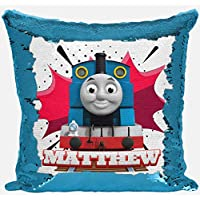 DAILY GIFTS Personalised Thomas Tank Engine Any Name Magic Reveal Sequin Cushion Cover 1