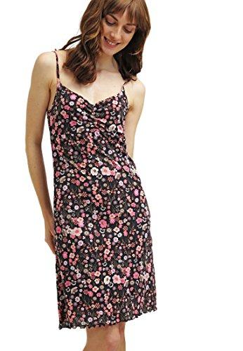 Anna Field Kleid Damen kurz mit Blumen, Trägerkleid gemustert, Jerseykleid bunt, Strandkleid geblümt, ärmellos in verschiedenen Farben (Size 44) mehrfarbig / pink (Seide Rollkragen Jersey)