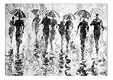 Startonight Leinwand Wand Kunst Schwarz und Weiß Regnerisches Wetter, Doppelansicht Überraschung Modernes Dekor Kunstwerk Gerahmte Wand Kunst 100% Ursprüngliche Fertig zum Aufhängen 60 x 90 CM