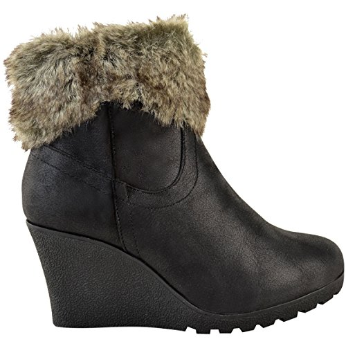 Femmes Chaussures À Fermeture Bottes Cotonneux Cheville Doublé Plateforme Pointure Hiver Compensé cuir Simili Éclaire Fourrure Noir BWrpFwqfB