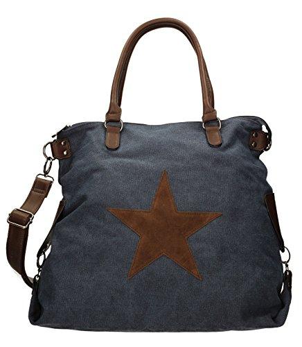 SwankySwans - Amber Star Large Canvas, Borse a Tracolla Donna Blu (Blu (Navy Blue))
