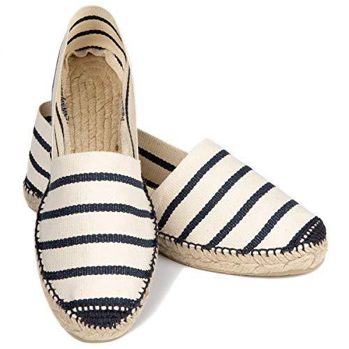 ESPADELLE Gestreifte Damen Slip-on Espadrilles aus Baumwolle mit Schuhbeutel, Zebra, 40 | Handmade in Spain (Damen Espadrille)