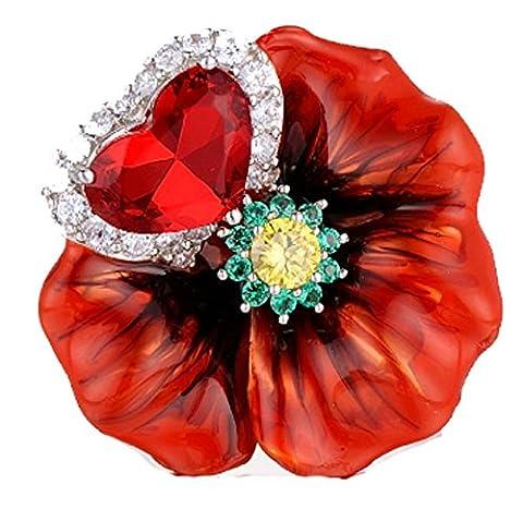 SaySure - Silver Rings Red Rose Flower Enamel Ring (SIZE : 6)
