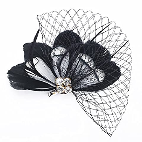 Janeo Headwear AUSTIN Rose Fascinator; Flirtatious Feathers Fan arrangement with Diamantes Crystals and Netting. Budget Price. Colours: Black, Cerise, Purple and Turquoise with White