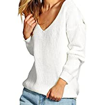 iPretty Sexy Pull Femme Chandails à Manches Longues Casual Col V Pull en Maille Sweater Jumper Tops Tricots