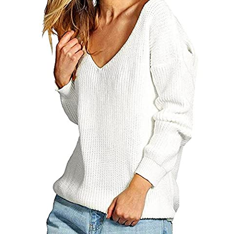 iPretty Women Long Sleeve Knitted Pullover Loose V Neck Loose Sweater Casual Jumper Tops Knitwear T-Shirt White