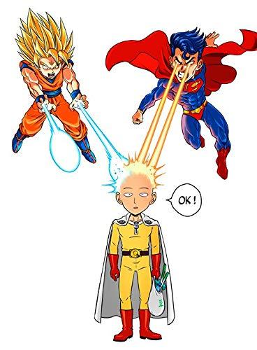 T-Shirt Noir One Punch Man DB Sup Superman parodique Saitama, Sangoku et Superman : Super Saiyan, Super Man et Super.Chauve : (Parodie One Punch Man DB Sup Superman)