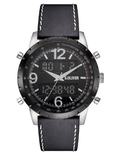 s.Oliver Herren-Armbanduhr XL Analog - Digital Quarz Leder SO-2819-LD