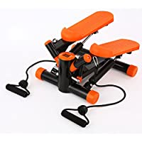 A-SSJ Swing Stepper Including Resistance Cords/Aerobic Step Height Adjustable Level,The Dual hydraulic cylinders keep you steady and on pace,Pure fitness mini stepper