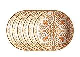 Mäser, Serie Saragossa, Teller tief 21 cm, Porzellan Geschirr-Set für 6 Perosnen, dekoriert in den Farben Orange und Weiß