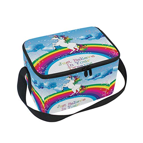 Bolsa de almuerzo con aislamiento de unicornio arcoíris para caballos, solo crees en tus sueños, reutilizable, duradera, portátil, térmica, para almuerzo, comida, bolsa de refrigeración, organizador de almuerzo, para mujeres, hombres, trabajo, escuela, oficina, al aire libre, picni