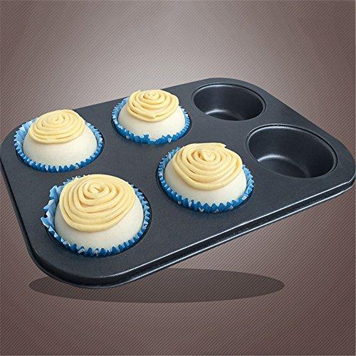 Antihaft 6 Cup Muffin Pan Fach Backformen Kuchen Cupcake Cookie Mold Küche Werkzeug (6-cup Pan Muffin)