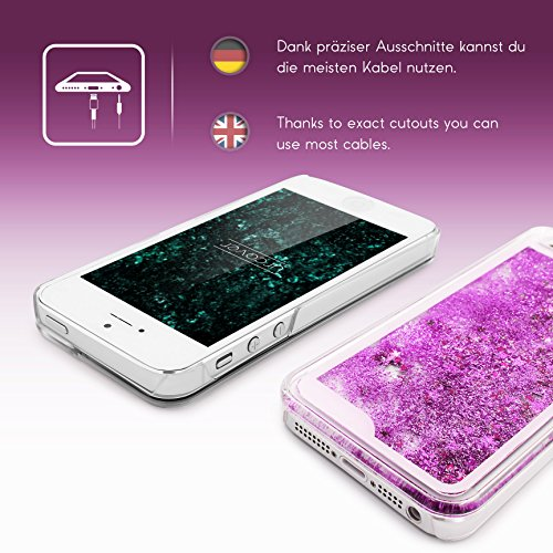 iPhone 5 / 5s / SE Coque, Urcover Liquide Glitter Étoile Case Housse Apple iPhone 5 / 5s / SE Étui Brillant [avec Scintillement] Bleu Colorée Téléphone Cover Lilas