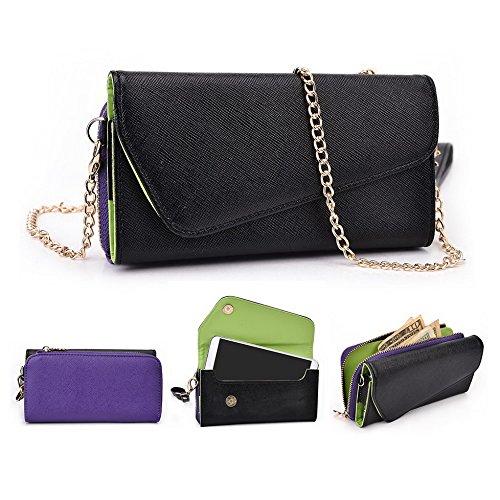 Kroo d'embrayage portefeuille avec dragonne et sangle bandoulière pour Lenovo VIBE Z2 Black and Orange Black and Purple