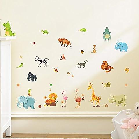 Wallpark Dibujos animados Animales - Elefante Ardilla Jirafa Cebra - Desmontable Pegatinas de Pared Etiqueta de la Pared, Bebé Niños Hogar Infantiles Dormitorio Vivero DIY Decorativas Arte