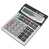 ASHATA Calcolatrice, 16 Cifre Funzione Standard Calcolatrice Tavolo Ufficio Display LCD Calcolatrice, Doppio Alimentatore Calcolatrice Energia Solare Calcolatrice per Ufficio/Finanza