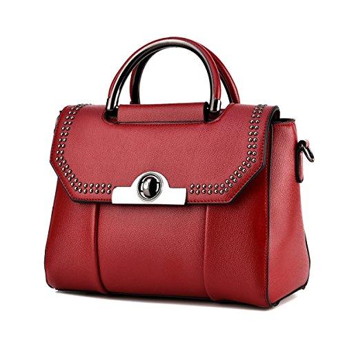 Mode Niet Satchel Für Frauen Pu-leder Mini Handtasche Schultertasche Multicolor Red
