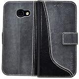 elephones Handyhülle für Samsung Galaxy A3 2017 Hülle Schutzhülle Handytasche Case Cover Grau mit Stand Kartenfächer Geldscheinfach