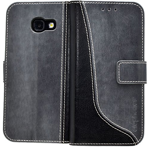 Samsung Galaxy A5 2017 Hülle Handyhülle von elephones® Cover Handytasche Flip Case Tasche Schutzhülle mit Kartenfächer Standfunktion Geldscheinfach Grau / Schwarz