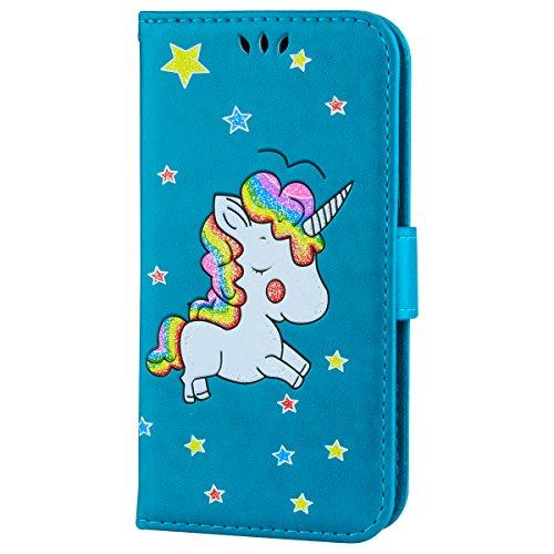 Ailisi Cover Samsung Galaxy J3 2016, Unicorno Bling Glitter Flip Cover Custodia Caso Libro Pelle PU e TPU Silicone con Funzione Supporto Chiusura Magnetica Portafoglio - Blu