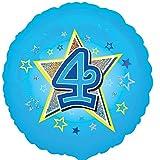 Folienballon Zahl 4 Geburtstag Junge blau Stern mit Ballongas gefüllt Holographic 45cm