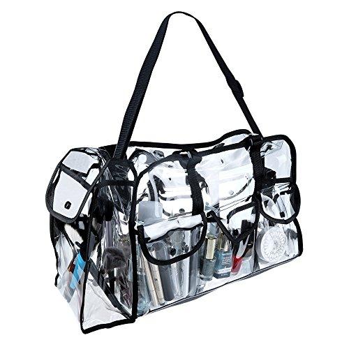 Malayas Makeup Artist Cosmetics Clear Makeup Bag Transparent Round PVC Bag Organizer Carrying Case Bag with Shoulder Strap