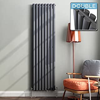 iBathUK 1800 x 480 mm Vertical Column Radiator Anthracite Oval Double | Original premium radiator
