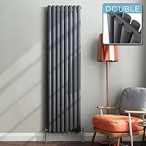 1800 x 480 mm Vertical Column Radiator Anthracite Oval Double | Original - iBathUK premium radiator