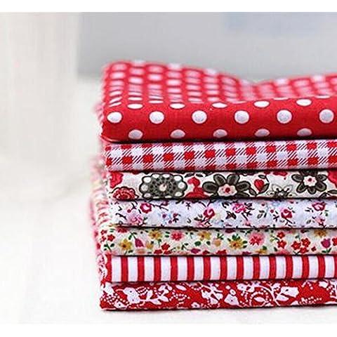 Tela de algodón Tejido de bricolaje Bundle remiendo floral rojo para imprimir sencillo 7 diseños