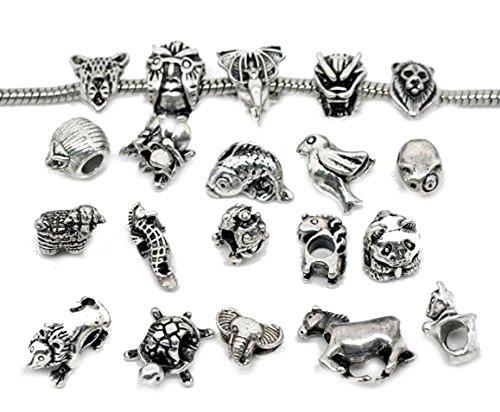 ca58dba61 Buckets of Beads 10 Assorted European Style Animal Charm Beads Fits Pandora  Troll Biagi Chamilia Disney