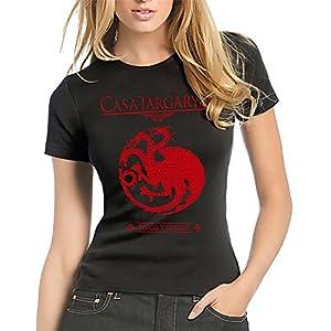 212-Camiseta Mujer Juego De Tronos - Casa Targaryen (S, Negro) 4