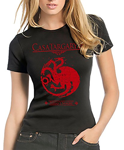212-Camiseta Mujer Juego De Tronos - Casa Targaryen (S, Negro)