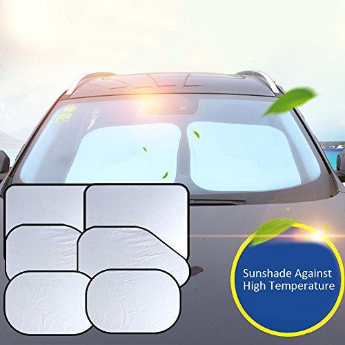 Auto Sonnenschirm Windschutzscheibe,Faltbarer UV Schutz Sonnenschutz 6 Teile Set,Sonnenschutz Auto Baby/Kinder,Silber